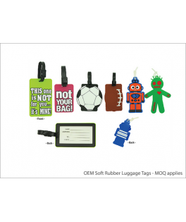 OEM Soft Rubber Luggage Tags - MOQ applies